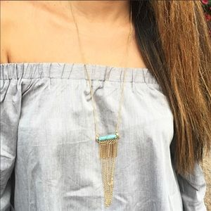 Marbled Turquoise Stone Tassel Necklace
